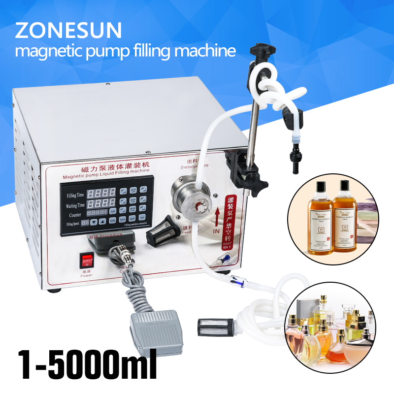 ZONESUN 2ml to unlimited filling machine Magnetic Pump Micro-computer liquid filling machine, accurate automatic filling machine cursor positioning fully automatic weighing racking packing machine granular powder medicinal filling machine accurate 2 50g