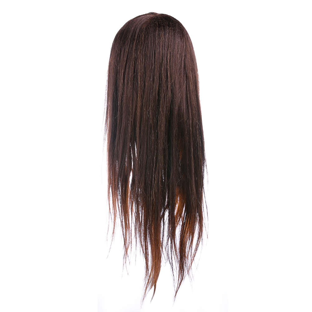 60cm 100% Real Brown Hair Profession Hairdressing Training Mannequin Practice Head Can B ...