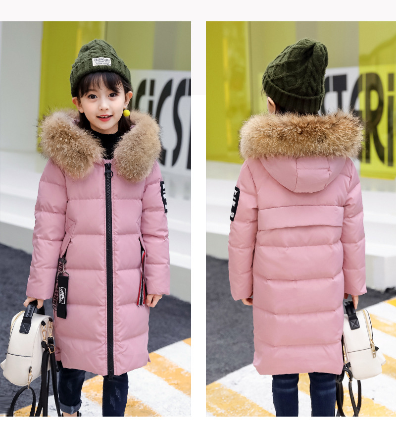 Children's Down Jacket Girl's Long Thicken Winter Jacket Girl Coat Girl Warm Parkas Snowsuit casacos de inverno 120-160 цены онлайн