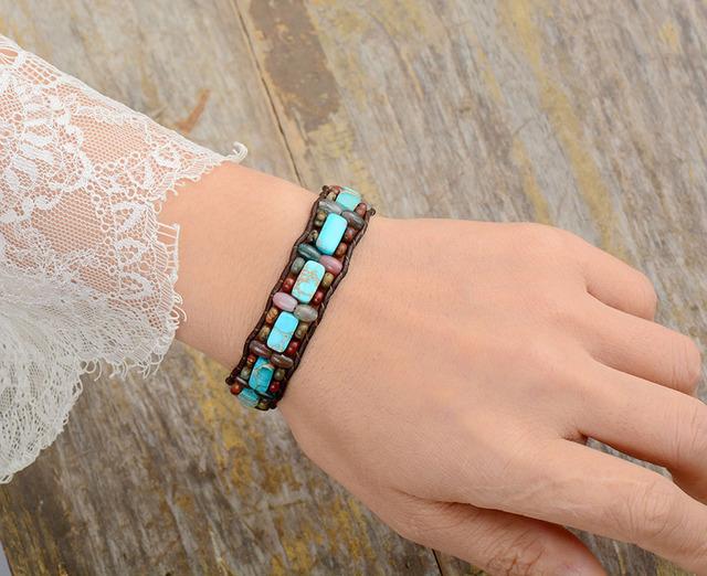 Natural Stone Vintage Leather Wrap Bracelet – Men & Women Sizes!