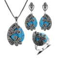 New Arrival Fashion Jewellery Set Turkish Silver Plated Black Rhinestone And Natural Stone Blue Turquoise Jewelry Sets For Women