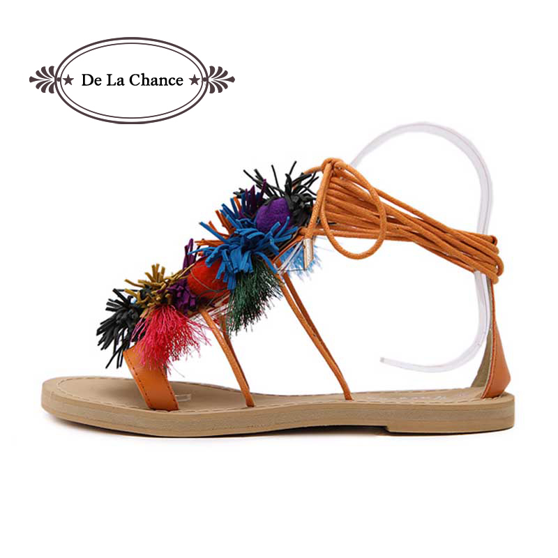 2017 Summer Lace Up Wanita Gladiator Sandals Tassel Fringe Fuzz Ball - Kasut wanita