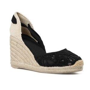 Image 5 - Tienda Soludos Cap Toe sandały na koturnie z wysokim obcasem dla kobiet, klasyczne miękkie kostki sznurowane espadryle buty kostki pasek na co dzień