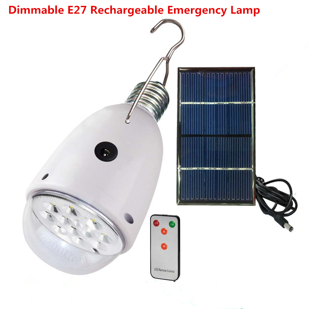 Aliexpress com buy rechargebal indoor lighting dimmable e27 led solar lamp with remote control ac90260v dc6v outdoor lighting solar caping light from