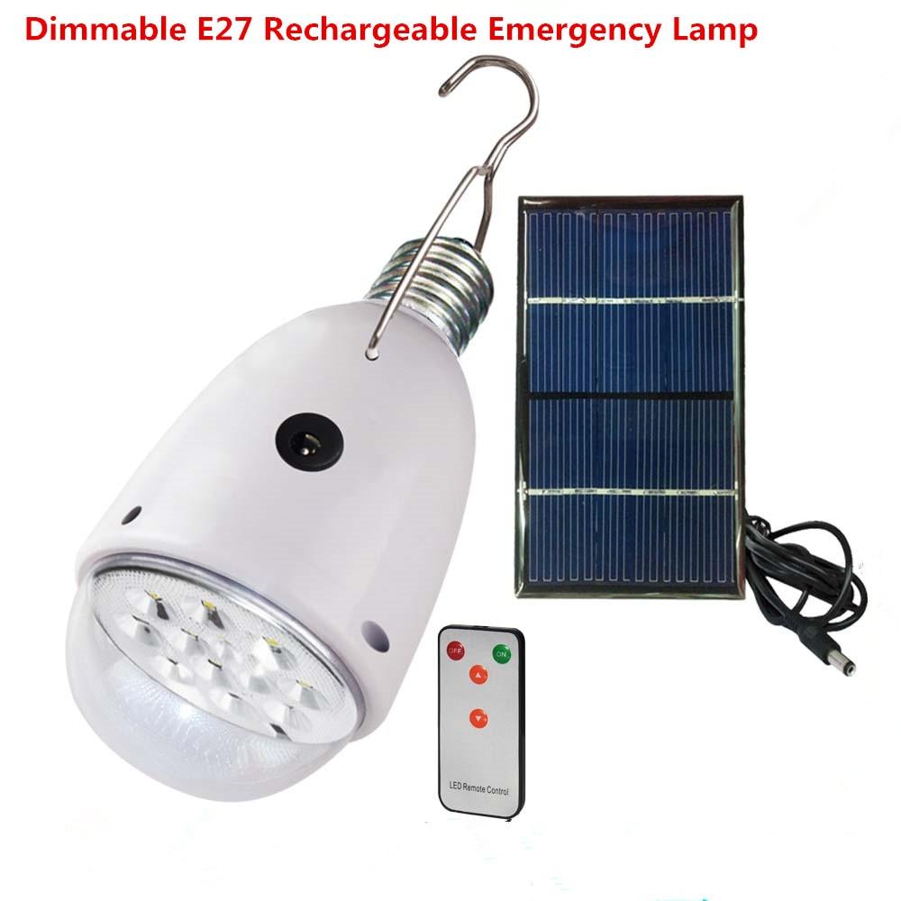 rechargebal iluminacao interna pode ser escurecido e27 conduziu a lampada solar com controle remoto ac90 ac260