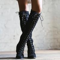 2018 на среднем каблуке серые, черные кожаные ковбойские Для женщин сапоги Ретро ботинки осень зима сапоги до колена на шнуровке Обувь Женска