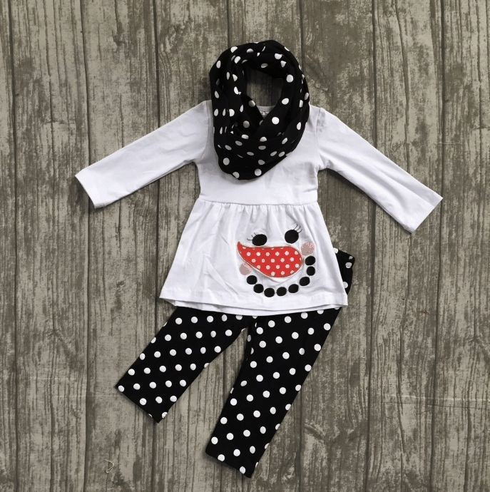 где купить snowman Fall/Winter outfits baby white black 3 pieces scarf black white dot top ruffle pant sets clothes cotton girls boutique по лучшей цене