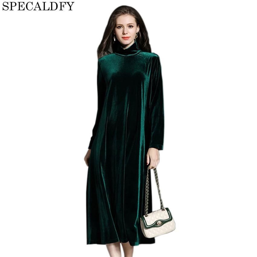 2018 automne hiver décontracté T Shirt robe femmes col roulé Vintage noir vert velours Midi robes de grande taille Vestidos Mujer
