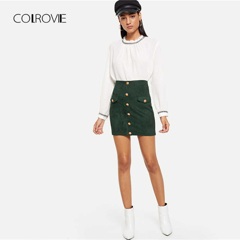 cfa3f6ef47c ... COLROVIE Green Solid Elegant Button Sexy Skirt 2018 Autumn Office Lady  Pencil Mini Skirts Women High ...