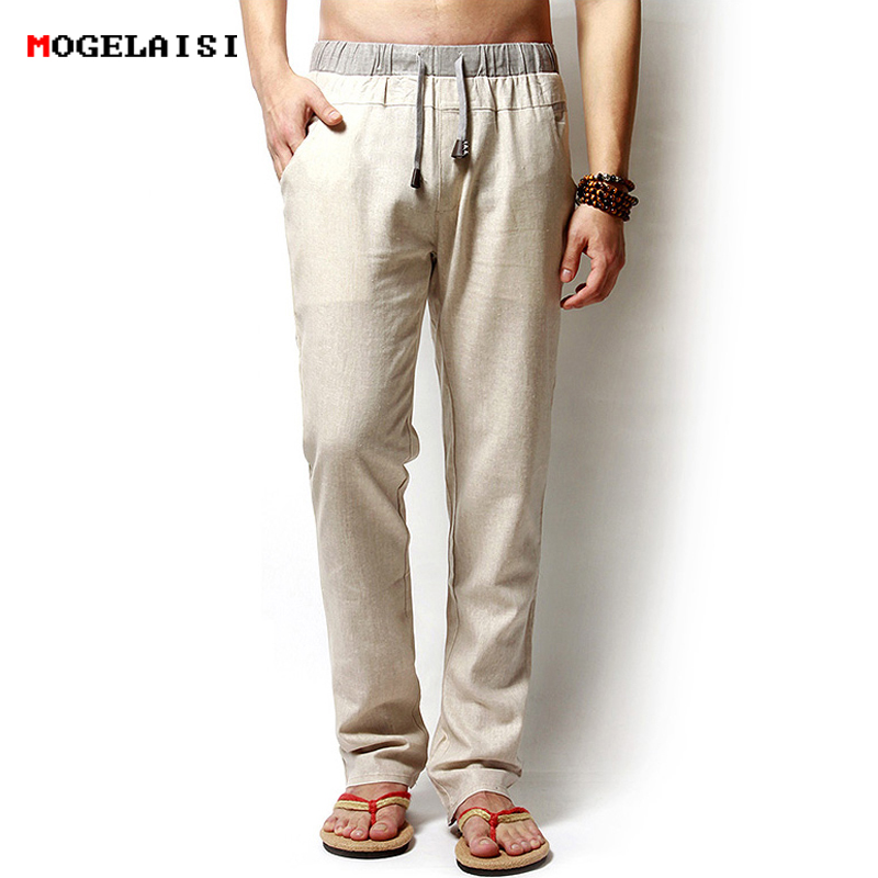 Men Pants Linen Drawstring Flax Pants Straight Full Length solid Linen Cotton Home Men's Trousers Fashion Pants Linen Size M-3XL 1