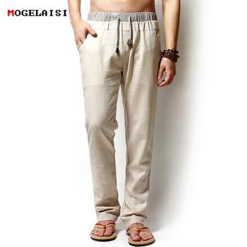Men Pants Linen Drawstring Flax Pants Straight Full Length solid Linen Cotton Home Men's Trousers Fashion Pants Linen Size M-3XL 1