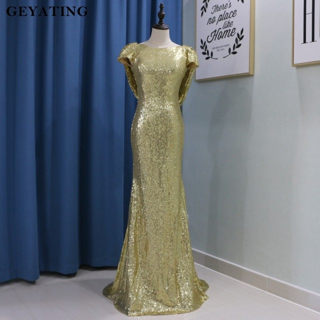 Gold Sequin Mermaid Bridesmaid Dress 2018 Robe Demoie D Honneur Short Sleeves Backless Long Wedding