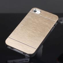 Luxury slim Case Cover For Apple iphone 4 4S Aluminum Metal Brush and PC Hard Back Phone Cover Bags gold/silver/black