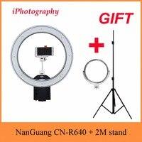 NanGuang CN R640 R640 фотографии видео Studio 640 светодиодный непрерывной Macro Ring Light 5600 К день освещение + штатив + держатель + зеркало