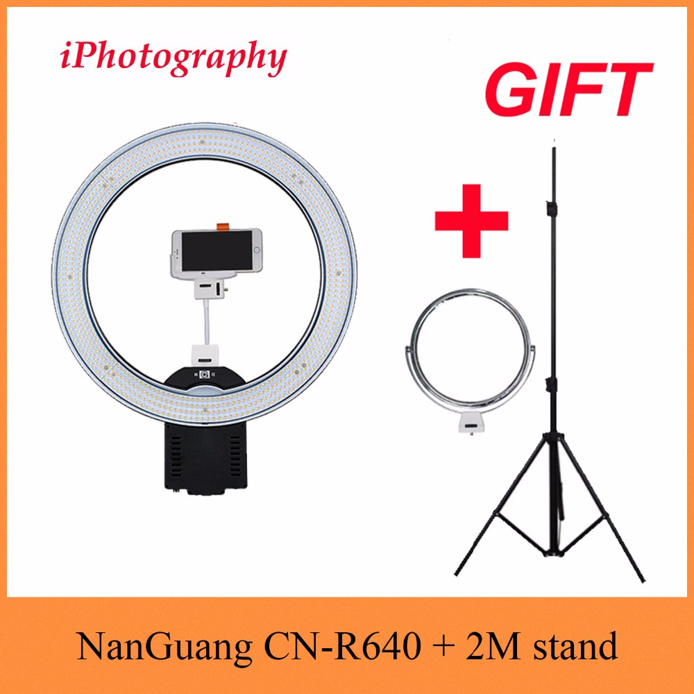 NanGuang CN-R640 R640 Photography Video Studio 640 LED Continuous Macro Ring Light 5600K Day Lighting + Tripod + Holder + Mirror