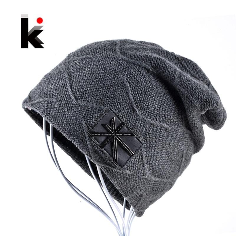 2017 Autumn And Winter beanies mens hats Union flag Casual Cap knitted hat bonnet plus velvet caps for men beanie