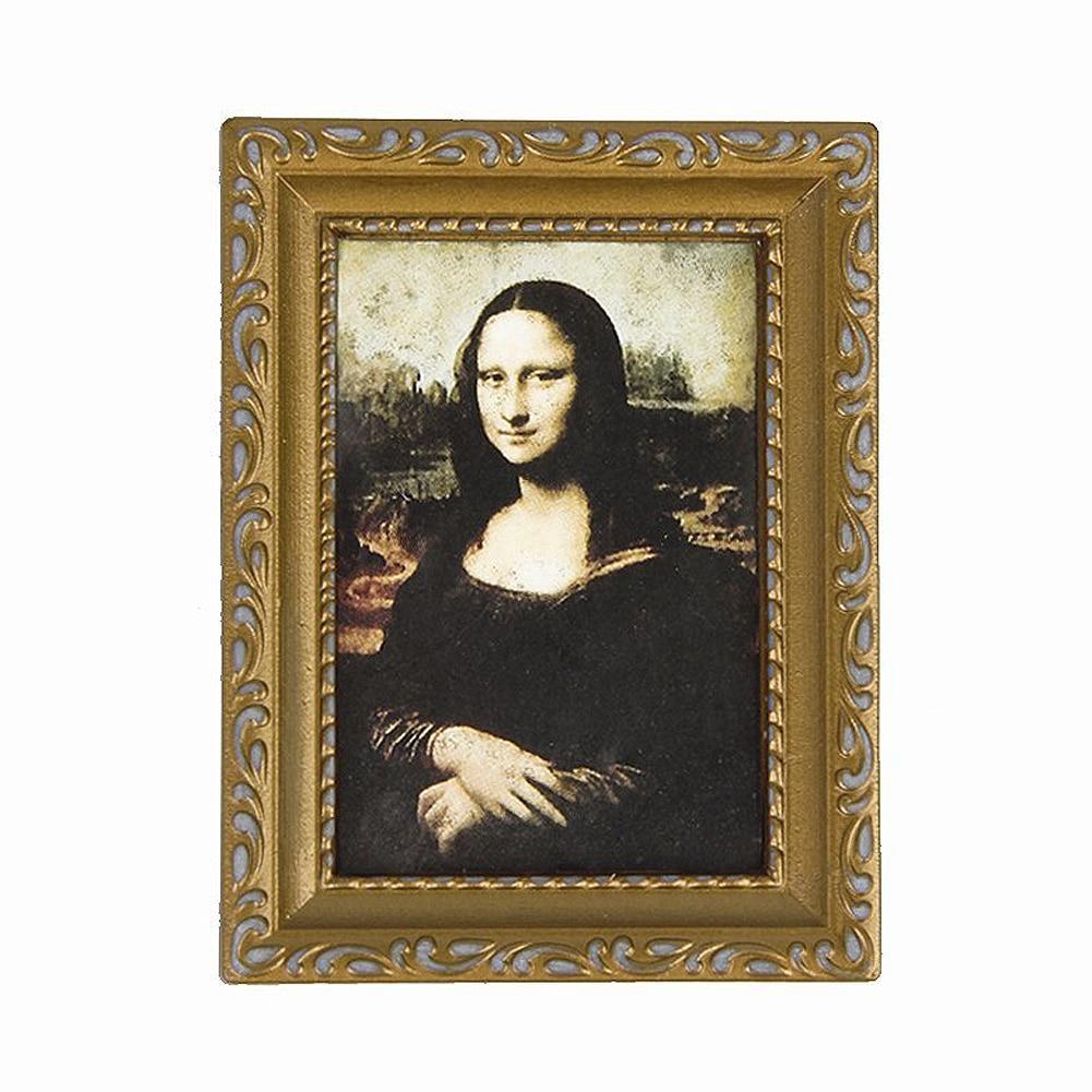 Vintage Golden Framed Picture Of Mona Lisa 1/12 Dollhouse 3.2