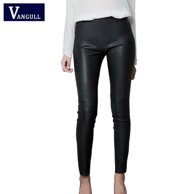 2016 дамы пу кожаные штаны мода новая весна элегантный поножи дикие тонкий карандаш брюки футов дизайн женские брюки