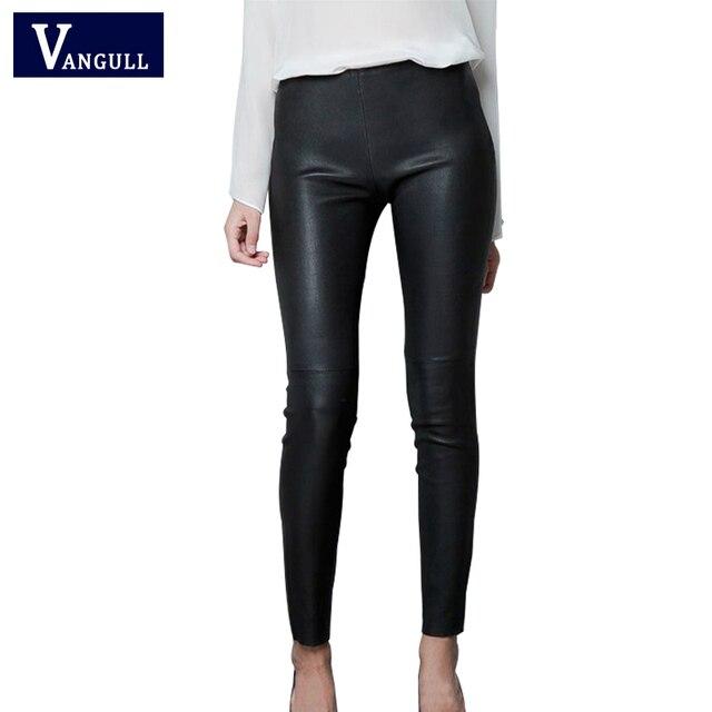 2016 Ladies PU leather Pants Fashion New spring Elegant Leggings wild Slim pencil trousers feet brand design women pants