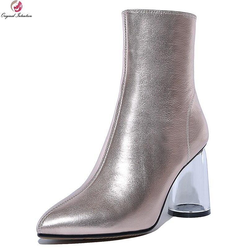 Intention originale femmes élégantes bottines en cuir de vache bout pointu talons ronds bottes or argent chaussures femme taille américaine 4-8.5