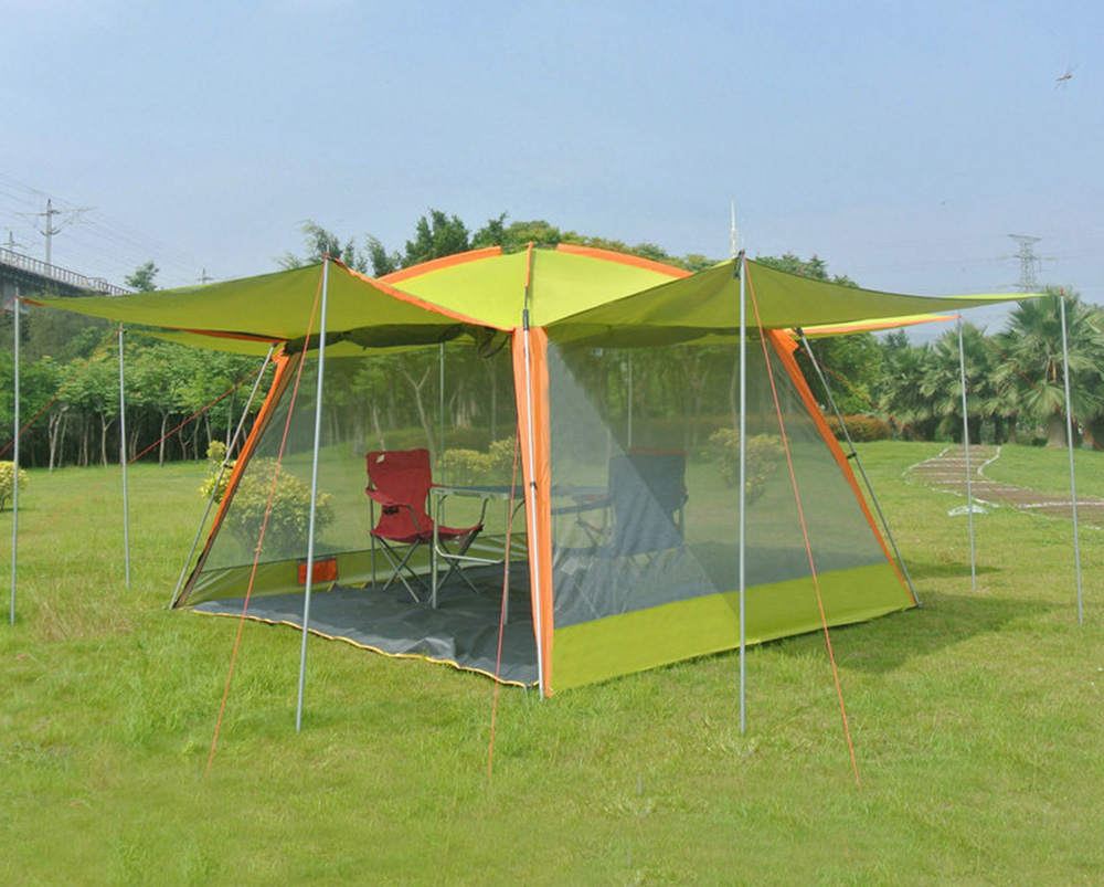 ZHUOAO Ultralarge 5-8 Person Use Waterproof Windproof Camping Tent Large Gazebo Beach Tent Tente Party Tent