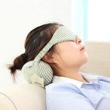 Portable Memory Foam Neck Pillow with Eye Mask Pillow Eyelashes Eye Lash Striped Rebound Pillow for Sleeping Travel plane flight цена 2017