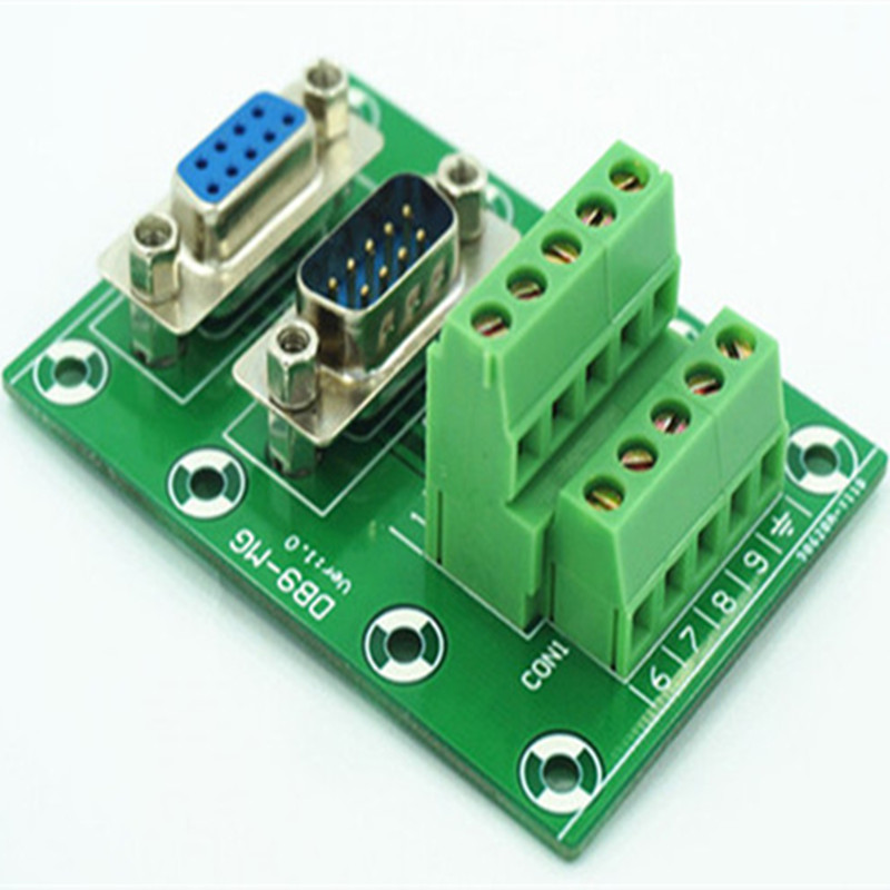 DB9 D-SUB Male-Female Breakout Board Terminal Block Interface Module