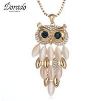 Dorado New Gold Color Big Long Necklaces Pendants Lovely Cute Crystal Opal Owl Necklace Long Chain
