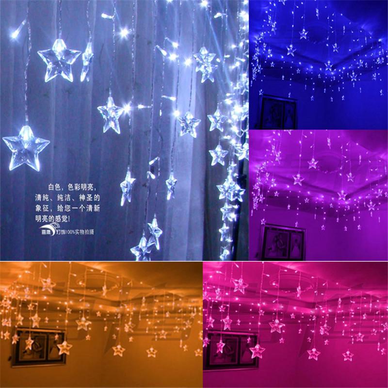m smd led carmbano luces de la cortina unids estrella de cinco puntas luces