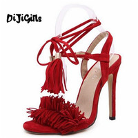 Tassel Sandals Spain Summer Style Ladies Sexy Stiletto Pumps Women Fringe High Heels Party Wedding Shoes