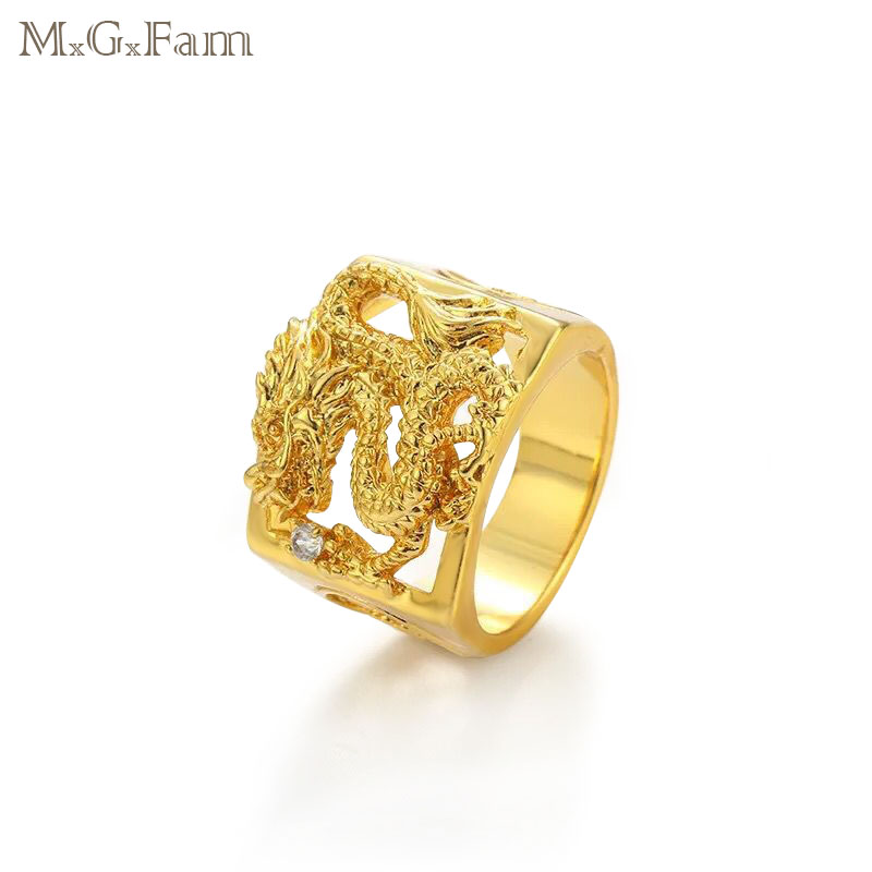 MGFam Dragon Rings For Masculine Men 24 k Pure Gold Color China Mascot National Style jewelry 9/10/11/12 (US)