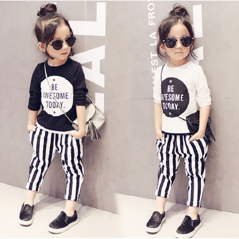 2016 New Autumn Brand Boys Two Piece Set Girls Set Fashion Design Grid Children Suit Stripe