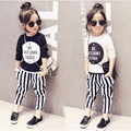 2017 new spring boys two-piece set girls set fashion design cotton children suit stripe pants baby kids long sleeve set, 2-7Y