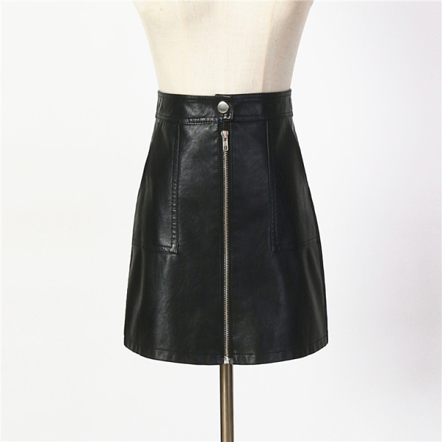2017 Autumn Winter Women Skirt PU Leather Sexy Mini Skirt With Pockets Zipper A-line Package Hip High Waist Women Clothing SP051