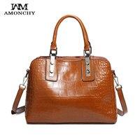 AMONCHY The Latest Alligator Women Handbags Genuine Leather Female Shoulder Messenger Bag Vintage Large Shopping Bags