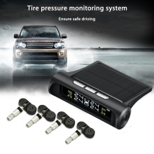 Car TPMS Tire Pressure Monitoring System Solar Energy LCD Color Display with 4 External or Internal Sensors Auto Alarm