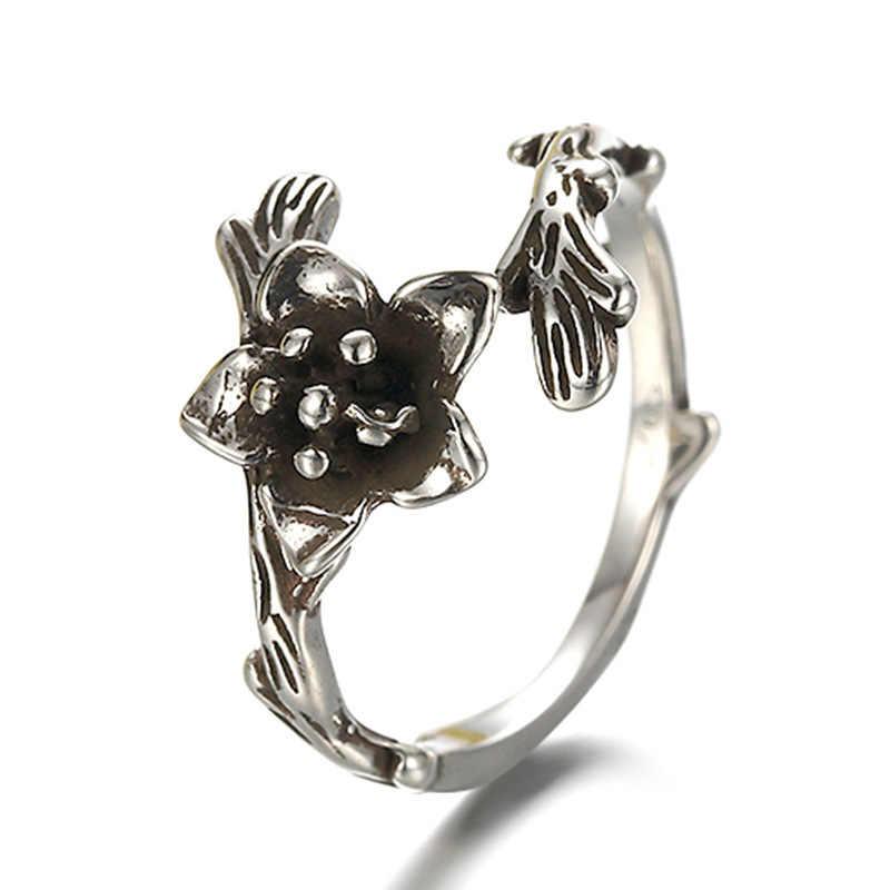 100% 925 เงินสเตอร์ลิง vintage เงิน rose ดอกไม้ ladies'finger แหวนเครื่องประดับหญิงเปิดแหวนคริสต์มาสของขวัญราคาถูก