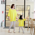 New2016 мать и дочь одежда свободного покроя хлопок ( с длинными рукавами , майка - + точка леггинсы ) одежда семья одежда горячие продаж