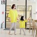 New2016 mãe e filha roupas de algodão ( t-shirt + calças de manga longa ) roupas roupas família venda quente