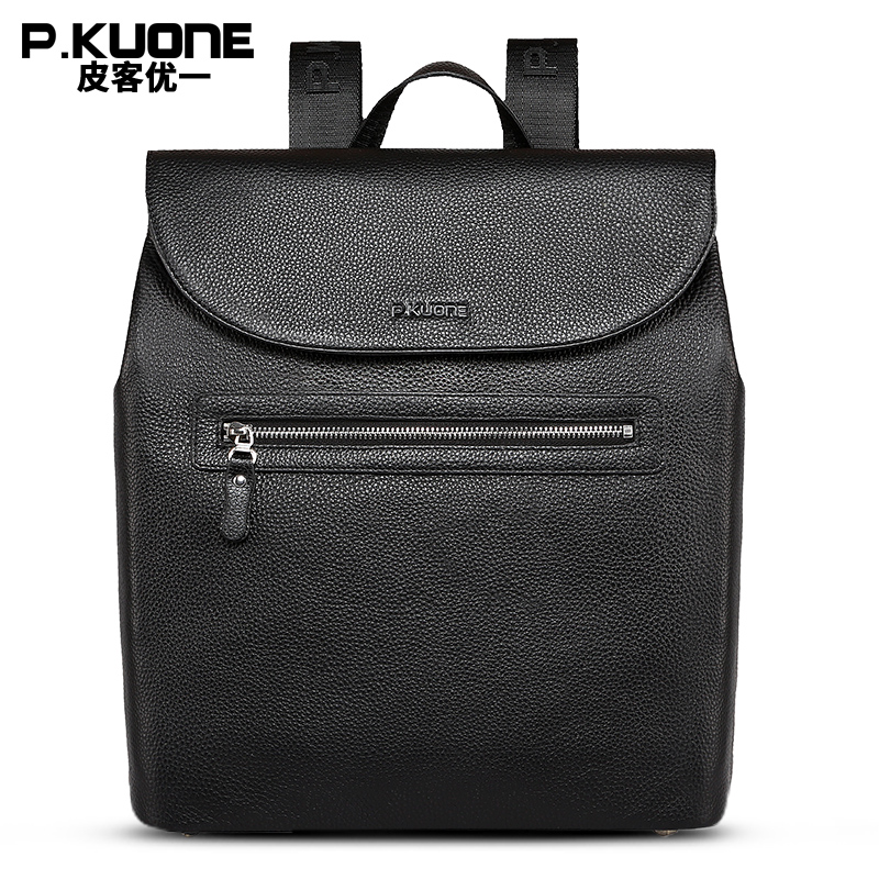 P.KUONE Brand Man Black Genuine Leather Backpack Male Travel Backpack Bag Cowhide Large Men School Bag sac a dos