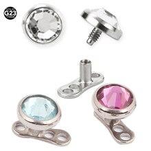 78480696dd02  100% G23 Titanium  14g micro Dermal ancla Top con agujeros base para  piercings Diver implantes en la piel mamilo pircing Bisute.