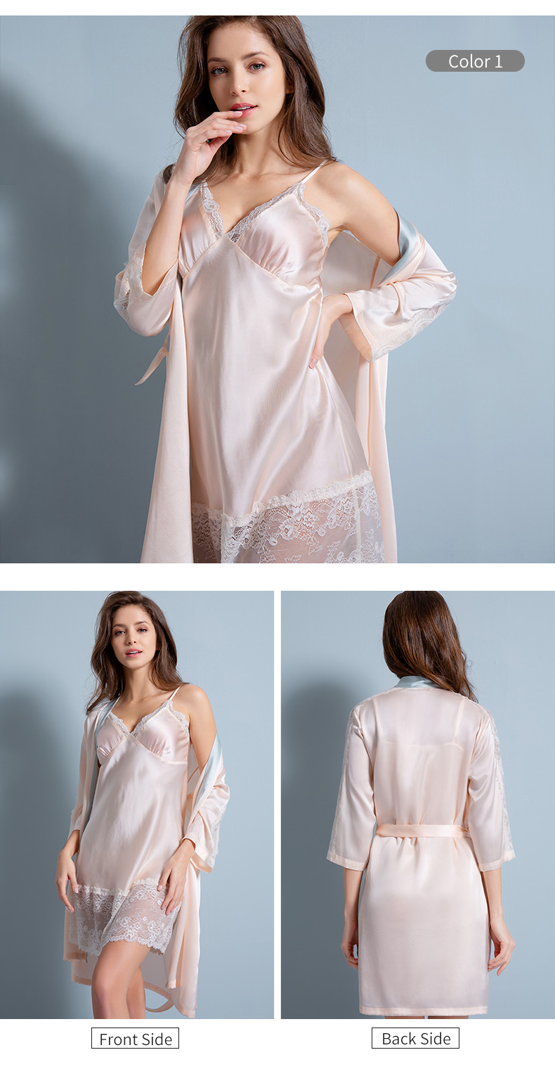 100% Real Silk Nightgown Set for Women 2020 Bedgown Nightshirt Lady Pajams High Quality 16m/m Pure Silk Robe Set Girls Sleepwear