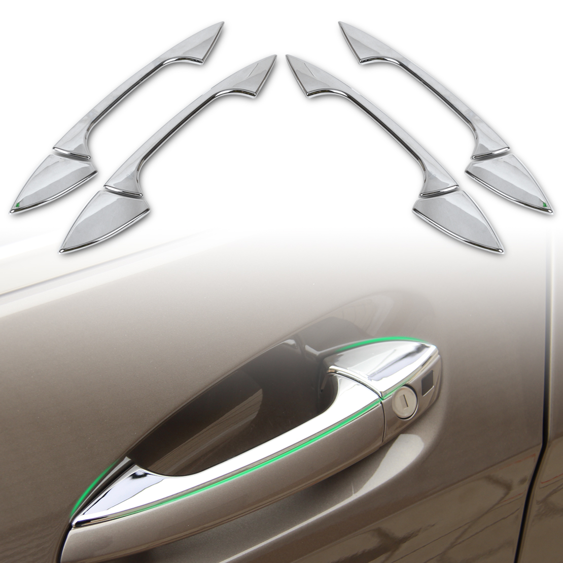 DWCX Chrome <font><b>Door</b></font> <font><b>Handle</b></font> Cover Trim for <font><b>Mercedes</b></font> Benz B C E GLK ML CLA Class W246 W166 W117 W204 W212 X204 image