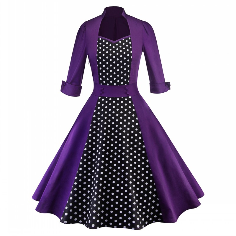9057278258_274015360_conew1  2018 Ladies Clothes Pin UP Vestidos Spring Autumn Retro Informal Celebration Gown Rockabilly Gown 50s 60s Classic Midi Attire HTB1rnAVz1SSBuNjy0Flq6zBpVXae