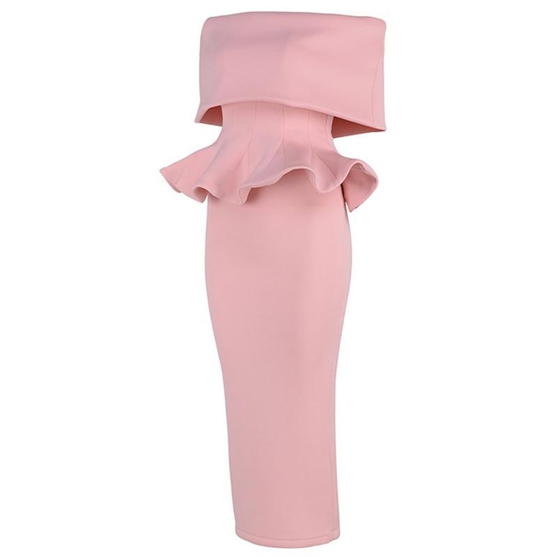 Mode Nouveau Cou Robe Hors longue Slash Femmes Mi Volants Créateur De Soirée À Épaule EwBq0rEx