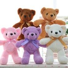 35cm Cartoon bowtie bear plush toys purple/pink/white/brown bear cloth doll stuffed plush animals toys baby kids doll