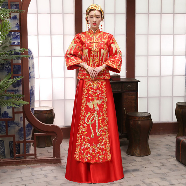 Mariée Rouge broderie phoenix De Mariage Cheongsam Qipao Moderne Longue Robe  Traditionnelle Chinoise Oriental Robes Robe