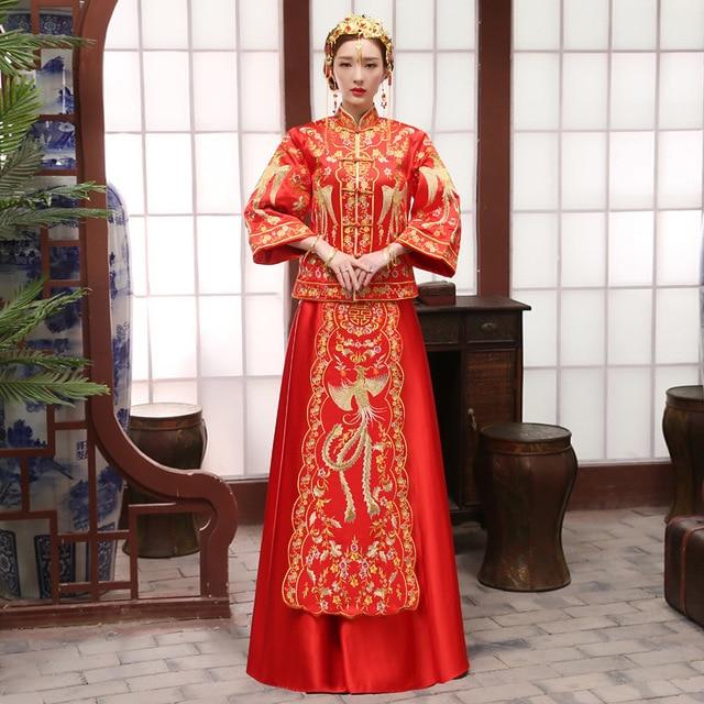 Novia rojo bordado Phoenix qipao cheongsam moderno largo chino ...