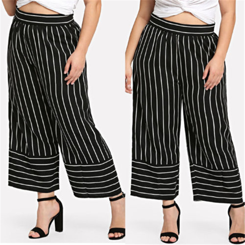 Popular Fashion Causal Stripe Women's Office Loose Stretch High Waist Wide Leg Long   Pants     Capris