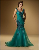 201 Sexy Green Sleeveless Prom Dresses Flower Applique Evening Mother of the Bride Dresses Mermaid Prom Gowns AS19